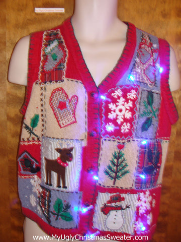 Cute Reindeer Patchwork Christmas Sweater Vest with Lights