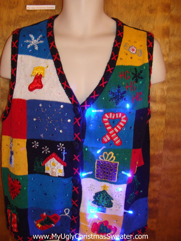 Crazy Blue Patchwork Christmas Sweater Vest with Lights