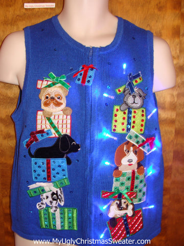 Crazy Dog Themed Christmas Sweater Vest with Lights