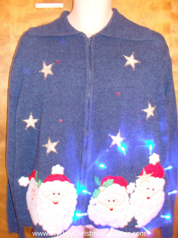 Santa Foursome Crazy Christmas Sweater with Lights