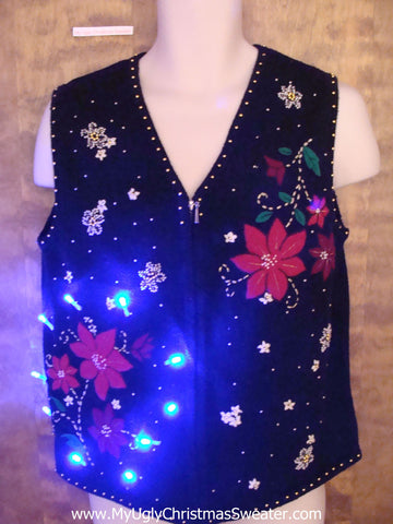 Crazy Christmas Sweater Vest with Lights and Poinsettias