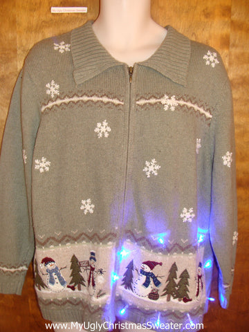 Crazy Snowman 2sided Christmas Sweater with Lights