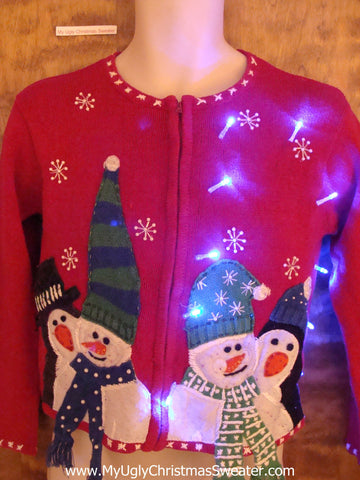 Child Cute Snowmen Crazy Christmas Sweater with Lights