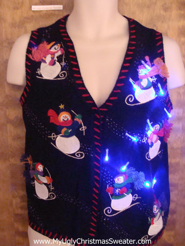 Skiing Snowmen Crazy Christmas Sweater Vest with Lights