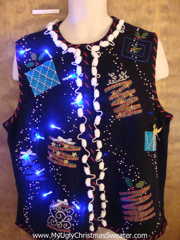 Crafty Trees Crazy Christmas Sweater Vest with Lights