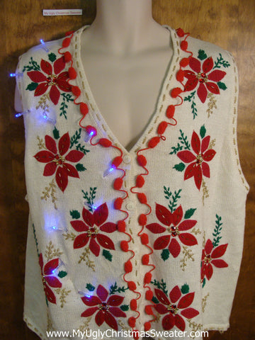 Crazy Poinsettias Christmas Sweater Vest with Lights