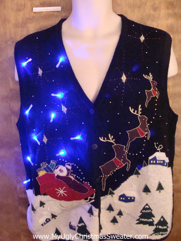 Santa and Flying Reindeer Christmas Sweater Vest with Lights