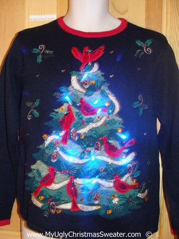Christmas Sweater with Lights Tree and Red Cardinals (g241)