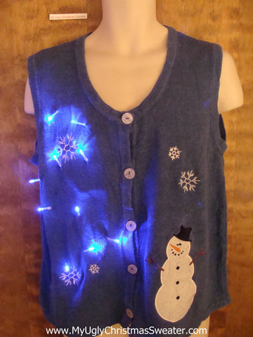 Crazy Blue Christmas Sweater Vest with Lights