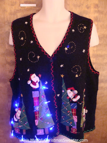Santas Decorating Christmas Sweater Vest with Lights