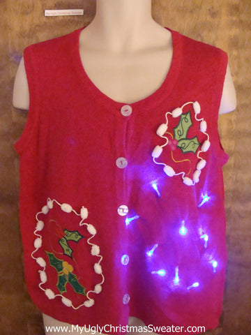 Crazy Red Christmas Sweater Vest with Lights