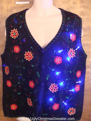 Crazy Black Christmas Sweater Vest with Lights and Poinsettias