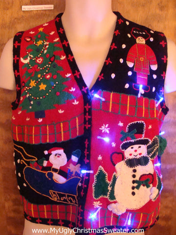 Fun Patchwork Plaid Christmas Sweater Vest with Lights