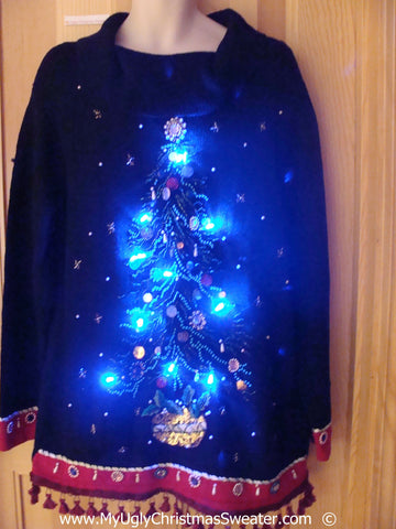 Christmas Sweater with Lights Huge Tree, Fringe (g242)