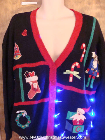 Crazy 80s Fun Christmas Sweater with Lights