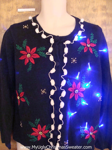 Crazy Christmas Sweater with Lights with Pom Poms
