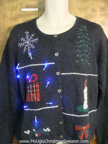 Crazy Candle and Gifts Christmas Sweater with Lights