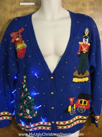 Crazy Nutcracker and Train Christmas Sweater with Lights