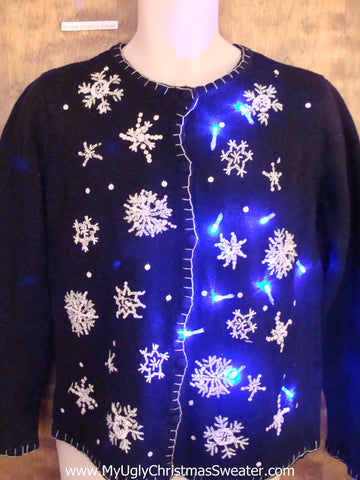 Crazy Snowflakes Christmas Sweater with Lights