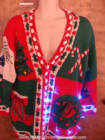Crazy Red and Green 80s Christmas Sweater with Lights