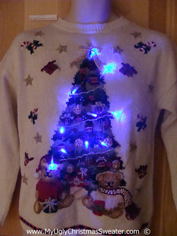 Christmas Sweater with Lights Tree and Teddy Bears (g243)