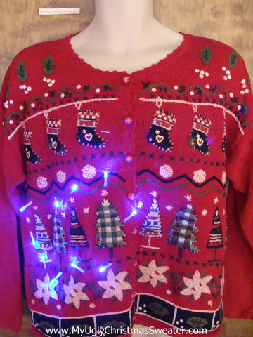 Crazy 80s Plaid Trees Christmas Sweater with Lights