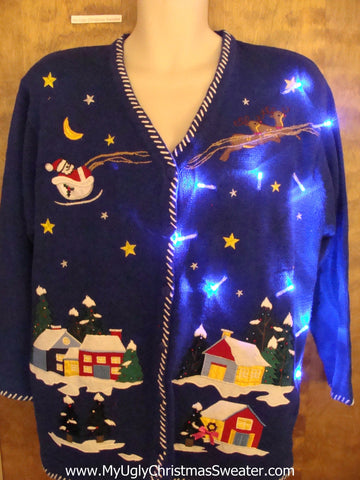 Crazy Flying Reindeer 80s Christmas Sweater with Lights