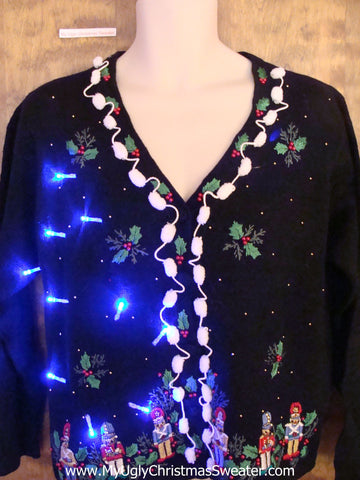 Crazy Christmas Sweater with Lights with Nutcrackers