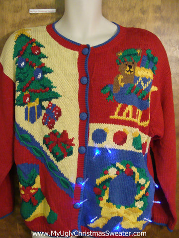 Crazy 80s Colorful Christmas Sweater with Lights