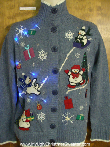 Crazy Sport Snowmen Christmas Sweater with Lights