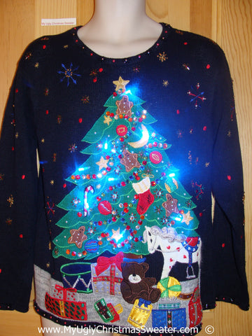 Christmas Sweater with Lights, Huge Tree, Bling  (g244)