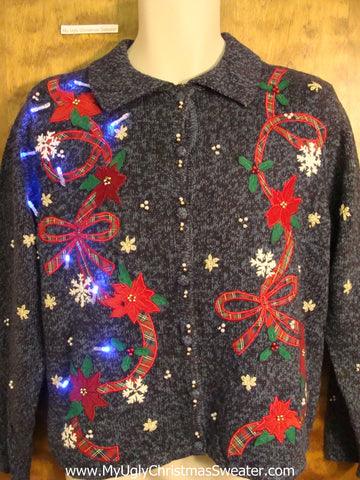 Crazy Bows and Poinsettias Christmas Sweater with Lights