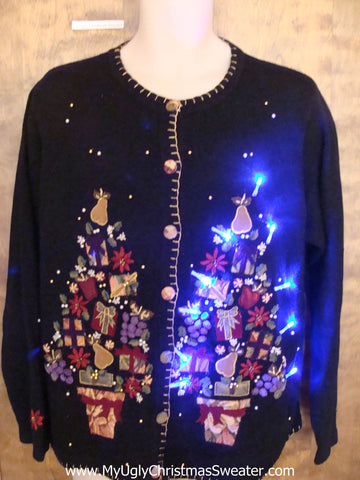 Crazy Bling Trees Christmas Sweater with Lights