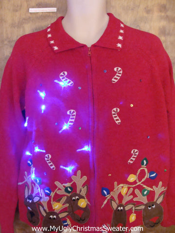 Crazy Reindeer and Candycane Christmas Sweater with Lights