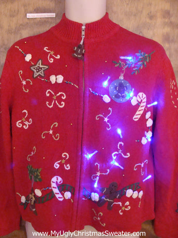 Gingerbread Ornaments Christmas Sweater with Lights