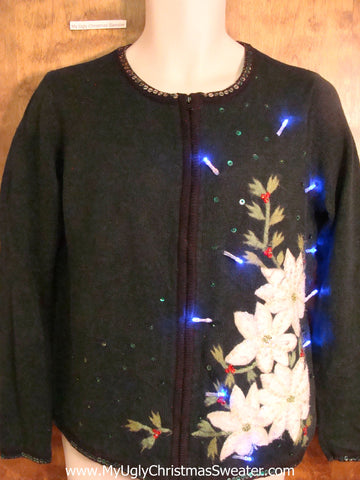 Horrible White Poinsettias Christmas Sweater with Lights