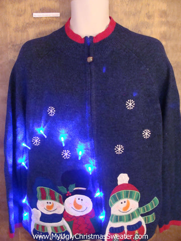 Crazy Snowman Trio Christmas Sweater with Lights
