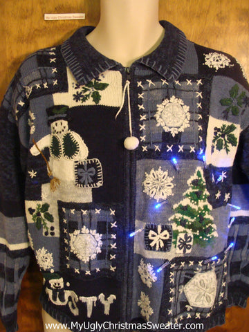 Crazy FROSTY Christmas Sweater with Lights