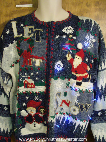 LET IT SNOW Christmas Sweater with Lights