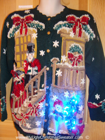 Holy Grail Christmas Sweater with Lights Two Sided with Nutcracker (g245)