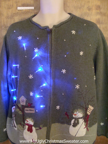 Green Crazy Christmas Sweater with Lights