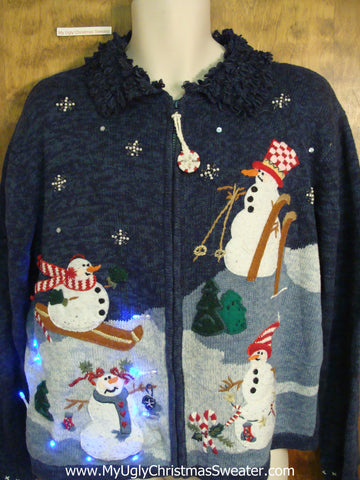 Skiing Snowmen Crazy Christmas Sweater with Lights