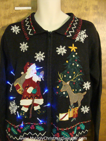 Santa and Reindeer Crazy Christmas Sweater with Lights