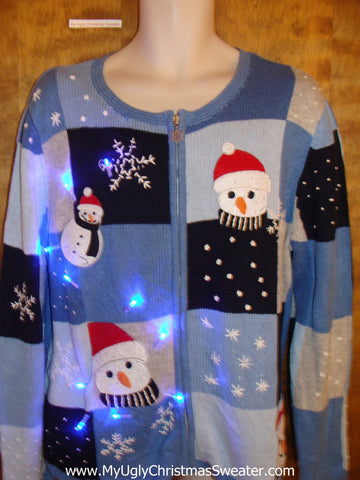 Cute Carrot Nosed Snowmen Christmas Sweater with Lights