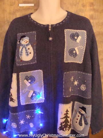 Snowman Patchwork Crazy Christmas Sweater with Lights