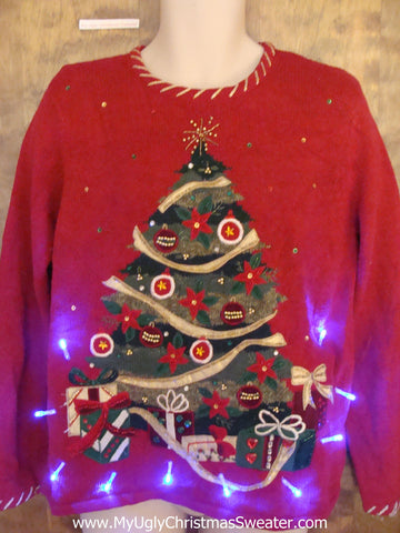 Crazy Red 80s Tree Christmas Sweater with Lights