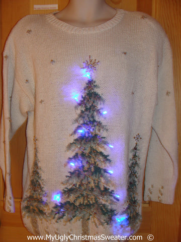 Ivory Christmas Sweater with Lights and Trees (g246)