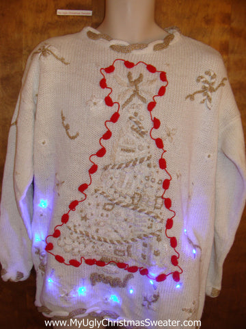 Funny Tree with Pompoms Christmas Sweater with Lights