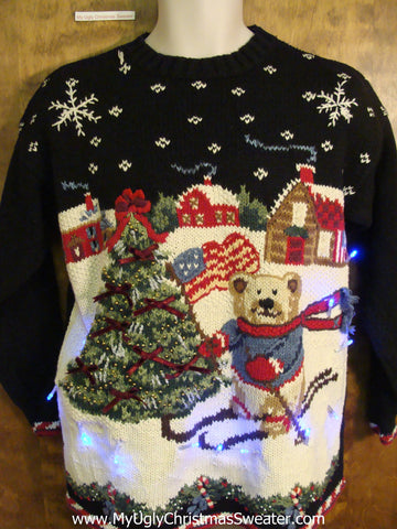 Patriotic Skiing Bear Christmas Sweater with Lights