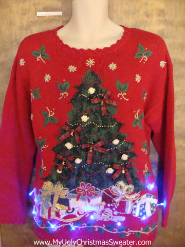 Crazy 80s Red Christmas Sweater with Lights